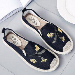 Embroidery Canvas Flat Shoes - BLACK