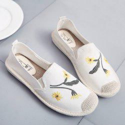 Embroidery Canvas Flat Shoes - OFF-WHITE