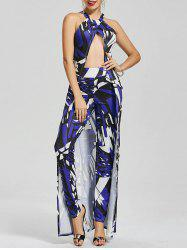 Split Halter Longline Geometric Print Top+Tight Pants
