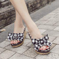 Plaid Bow Wedge Heel Slippers