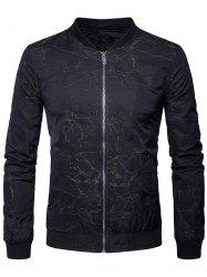 Zipper Up Stand Collar Bomber Jacket -