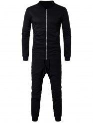 Zip Pocket Jacket and Sweatpants Suit