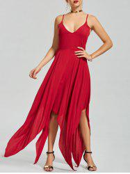 Asymmetric Criss Cross Back Slip Handkerchief Dress - RED