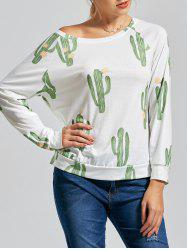 Tropical Cactus Print Skew Collar Shirt