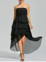 Maxi High Low Flounce Chiffon Bandeau Prom Dress - BLACK