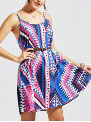 Casual Geometric Print Mini Slip Dress - MULTI