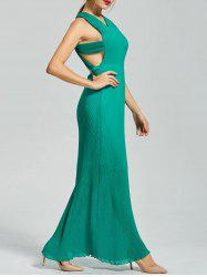 Backless Pleated Cut Out Long Maxi Dress