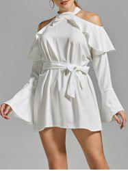 Mock Neck Flare Sleeve Cold Shoulder Dress