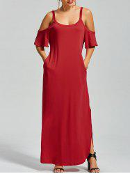 Slit Pockets Maxi Cold Shoulder Dress