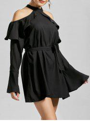 Flounce Cold Shoulder Long Sleeve Cocktail Dress