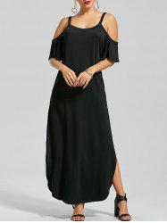Slit Pockets Maxi Cold Shoulder Dress - BLACK