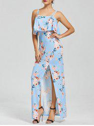 Flounce High Split Floral Slip Dress