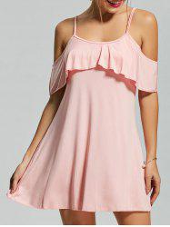 Cold Shoulder Shift Mini Dress - PINK