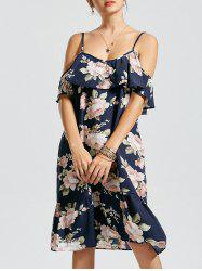 Floral Cold Shoulder Drop Waist Dress