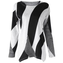 Stylish Scoop Neck Long Sleeves Geometric Printed Irregular Hem T-Shirt For Women - BLACK