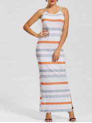 Stripe Fitted Maxi Slip Dress