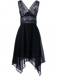Hanky Hem Chiffon Lace Cocktail Dress - BLACK