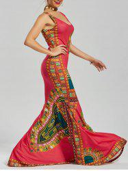 Printed Floor Length Mermaid Dress - RED