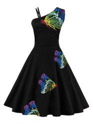 Butterfly Embroidered One Shoulder Flare Dress -