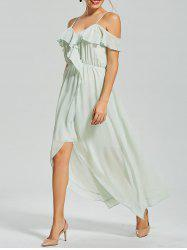 Ruffle Front Slit Chiffon Slip Dress