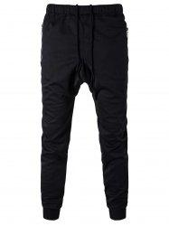 Zip Pocket Drawstring Drop Crotch Jogger Pants - BLACK