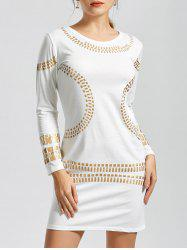 Long Sleeve Gilding Mini Bodycon Fitted Dress