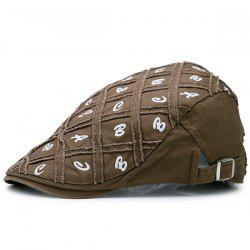 Lettres Embellished Artificial Abrasion Checked Flat Hat