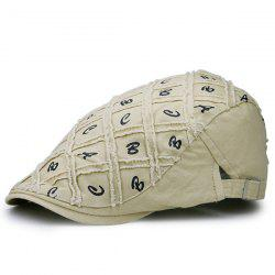 Letters Embellished Artificial Abrasion Checked Flat Hat