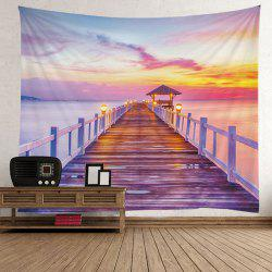 Home Decor Sunset Glow Sea Bridge Wall Tapestry - COLORFUL