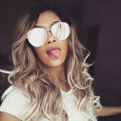 Long Inclined Bang Colormix Wavy Synthetic Wig - COLORMIX