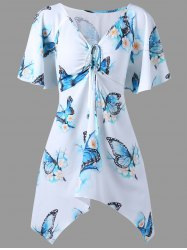 Plus Size Butterfly Printed Long Dressy Top