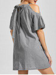 Cold Shoulder Self Tie Gingham Dress