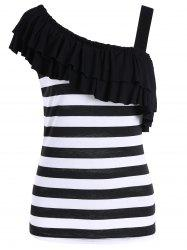 Striped Skew Collar Ruffle Top