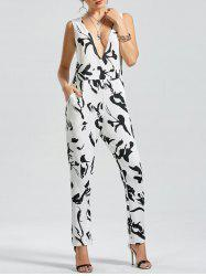 Graphic Printed Plunging Neckline Jumpsuit