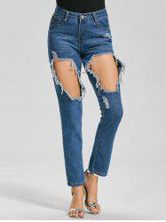 Cut Out Ankle Ripped Jeans - BLUE