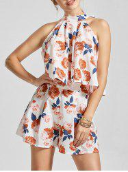 Sleeveless Floral Print Top with Mini Shorts - MULTI