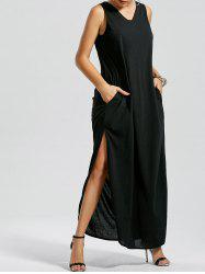 V Neck Side Slit Tank Floor Length Dress
