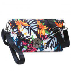 Flower Print Nylon Crossbody Bag - WHITE