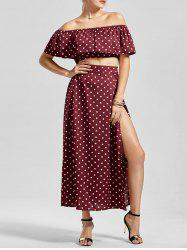 Polka Dot Off The Shoulder Three Piece Dress - WINE RED
