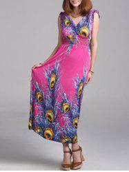Peacock Feather Print Bohemian Maxi Dress