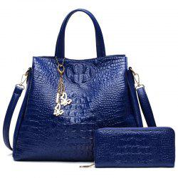 Crocodile Embossed Handbag with Wallet
