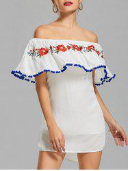Off The Shoulder Flounce Embroidered Dress