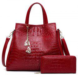 Crocodile Embossed Handbag with Wallet - RED
