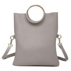 Metal Ring Tote Bag with Wristlet