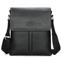 Flap Faux Leather Crossbody Bag - BLACK