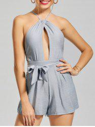 Backless Tie Waist Criss Cross Romper