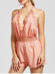 Plunging Neckline Open Back Cut Out Romper