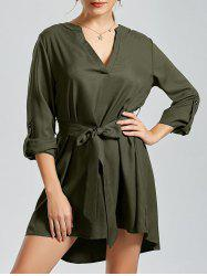 V Neck High Low Long Sleeve Dress