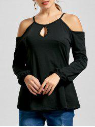 Cold Shoulder Keyhole Long Sleeve Top