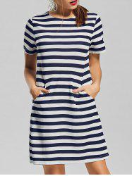Pocket Striped Short Sleeve T Shirt Dress
